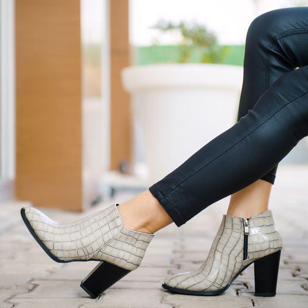 Lindy Kadın Bot Beyaz Kroko