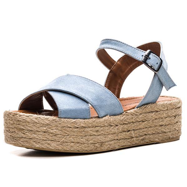 Fidel Kadın Sandalet Mavi Süet