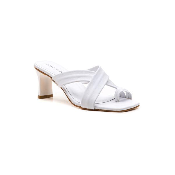 Gervasio Kadın Deri Terlik Beyaz