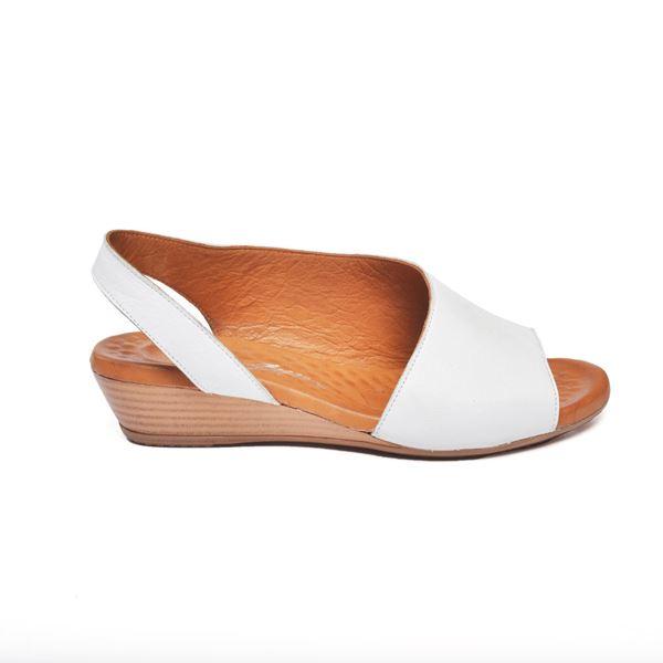 Nieve Kadın Deri Sandalet Beyaz
