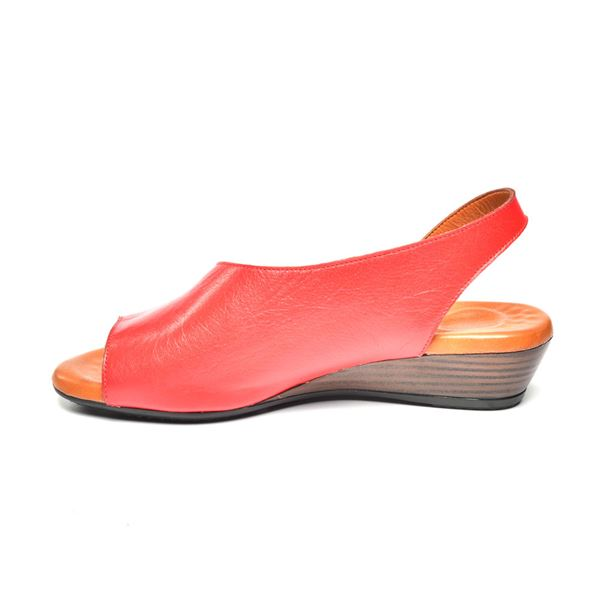 Nieve Kadın Deri Sandalet Kırmızı