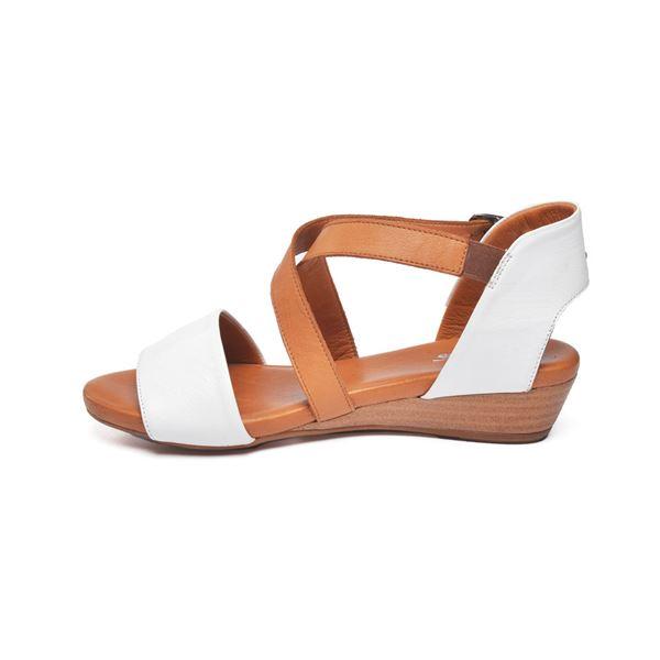 Verano Kadın Deri Sandalet Beyaz Taba