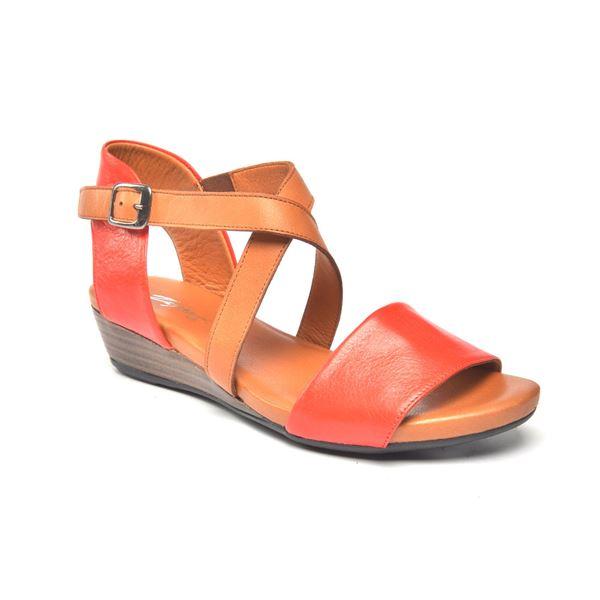 Verano Kadın Deri Sandalet Kırmızı Taba