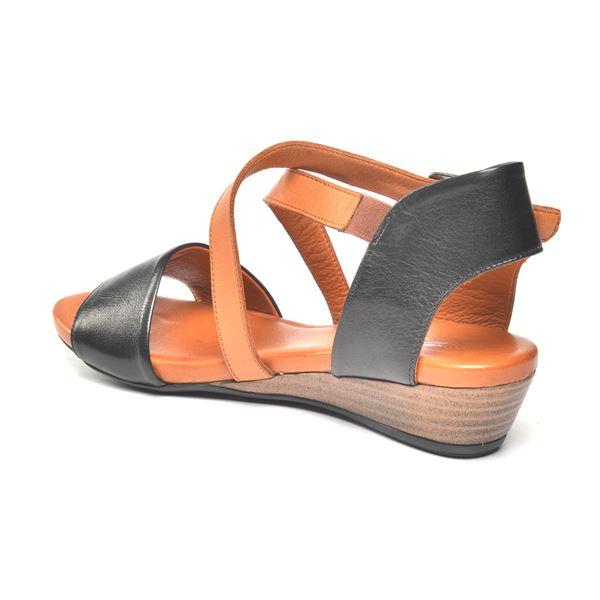 Verano Kadın Deri Sandalet Siyah Taba