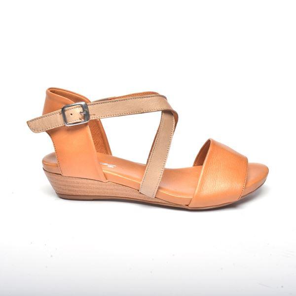 Verano Kadın Deri Sandalet Taba Kum