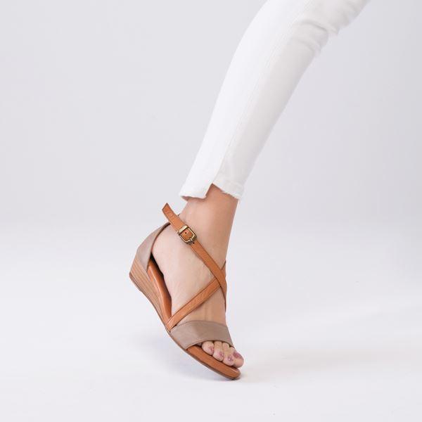 Piel Kadın Deri Sandalet Kum Taba