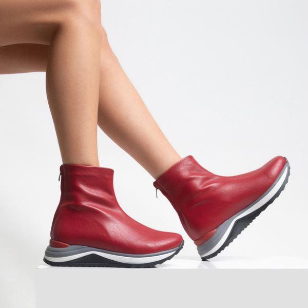 Alban Kadın Bot Kırmızı Streç