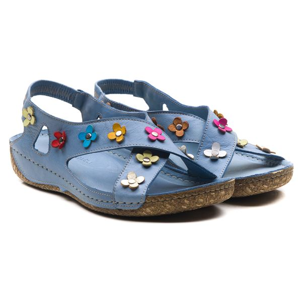 Alanis Kadın Deri Sandalet Mavi
