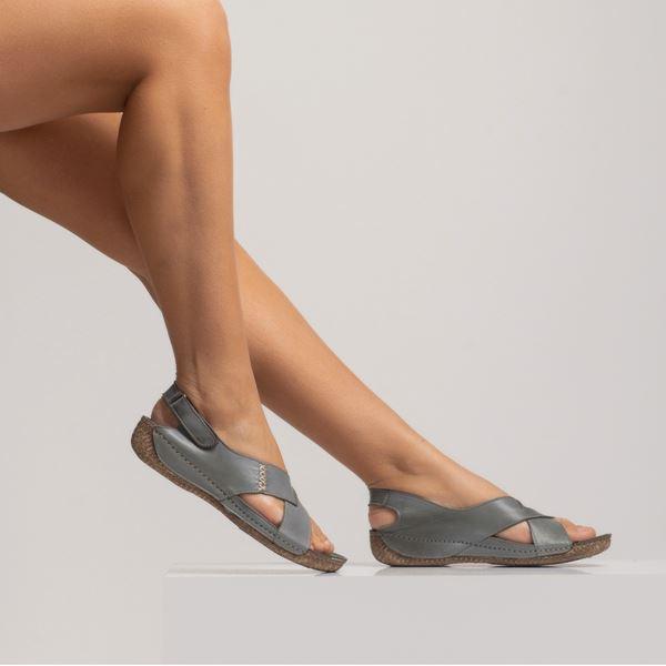 Alina Kadın Deri Sandalet Gri
