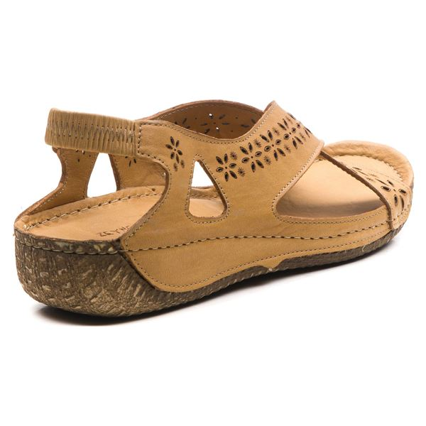 Adriel Kadın Deri Sandalet Karamel