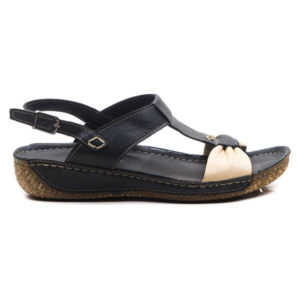 Axel Kadın Deri Sandalet Siyah Bej
