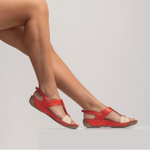 Axel Kadın Deri Sandalet Kırmızı Bej
