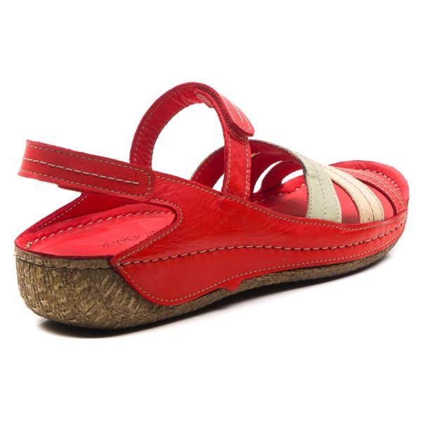 Armani Kadın Deri Sandalet Kırmızı Kum Bej