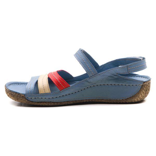 Armani Kadın Deri Sandalet Mavi Kırmızı Bej
