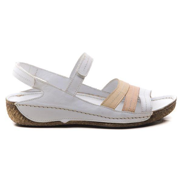 Armani Kadın Deri Sandalet Beyaz Bej Pudra