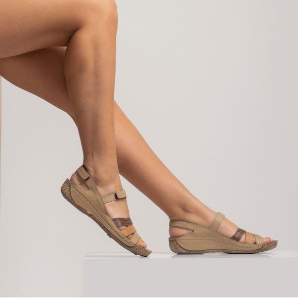 Armani Kadın Deri Sandalet Kum Kahve Taba