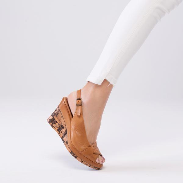 Lucie Kaplama Dolgu Deri Sandalet Taba