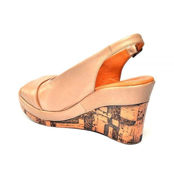 Lucie Kaplama Dolgu Deri Sandalet Kum