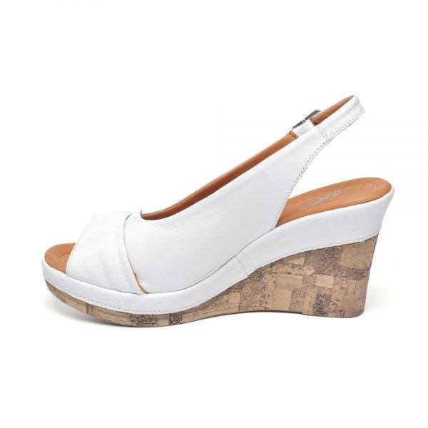 Lucie Kaplama Dolgu Deri Sandalet Beyaz