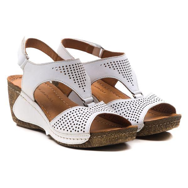 Joe Kadın Dolgu Topuk Sandalet Beyaz