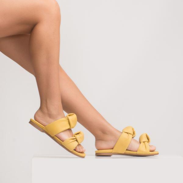 Annika Kadın Deri Terlik Sarı