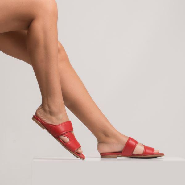 Amarion Kadın Deri Terlik Kırmızı