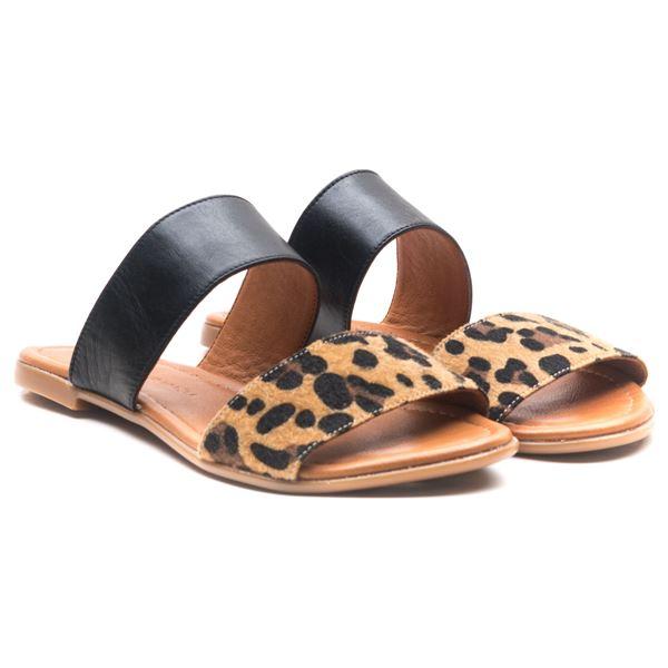 Sarbelio Kadın Deri Terlik Siyah Leopar