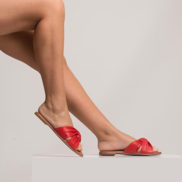 Arlenin Kadın Deri Terlik Kırmızı