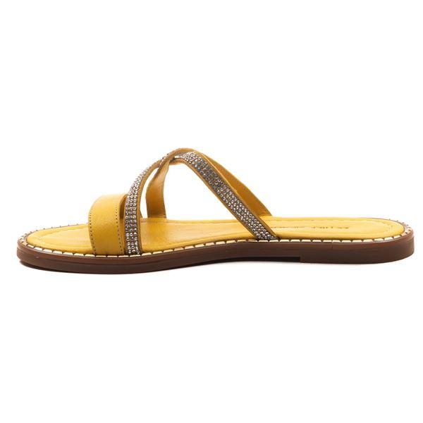 Loafer Kadın Deri Terlik Sarı