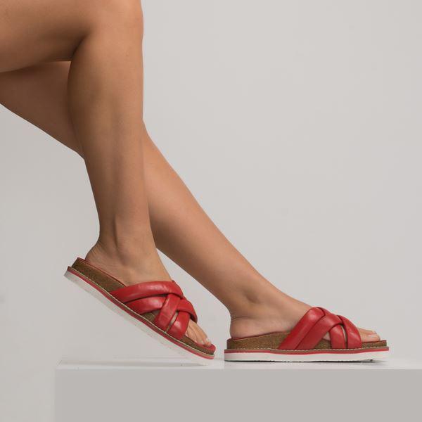 Sonnalia Kadın Deri Terlik Kırmızı