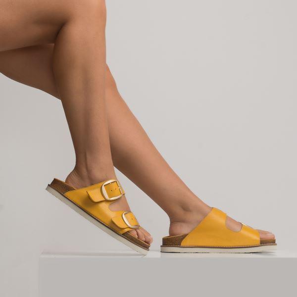 Samentio Kadın Deri Terlik Sarı