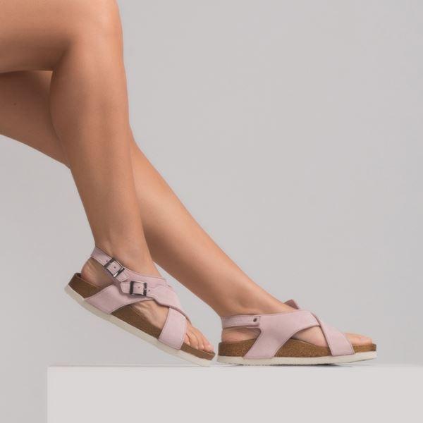 morena Kadın Deri Sandalet Pudra Süet