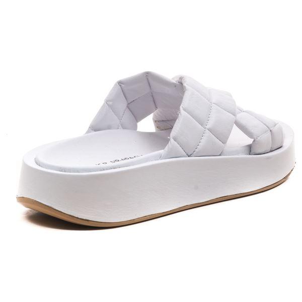 Arbensio Kadın Deri Terlik Beyaz