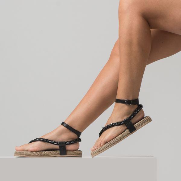 Cloweer Kadın Deri Sandalet Siyah