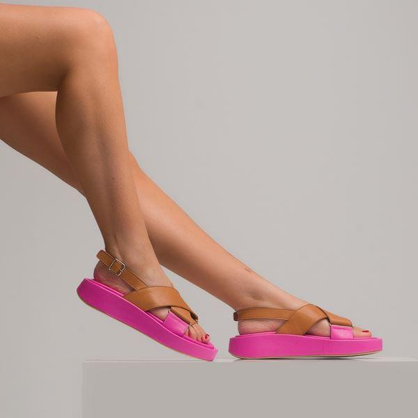 Dıegor Kadın Sandalet Taba Fuşya