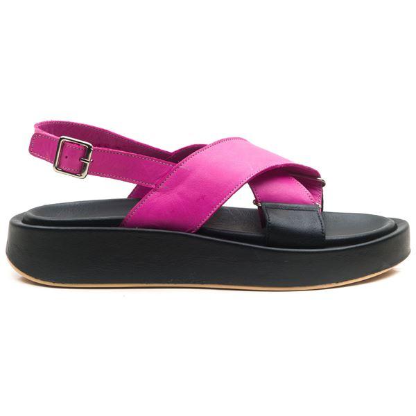 Dıegor Kadın Sandalet Fuşya-siyah