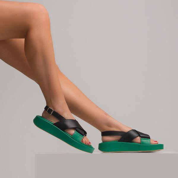 Dıegor Kadın Sandalet Siyah Yeşil