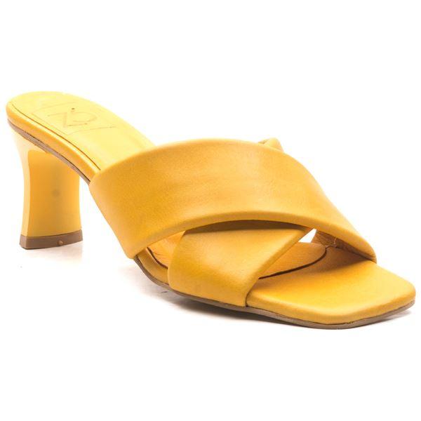 Jadrian Kadın Deri Terlik Sarı