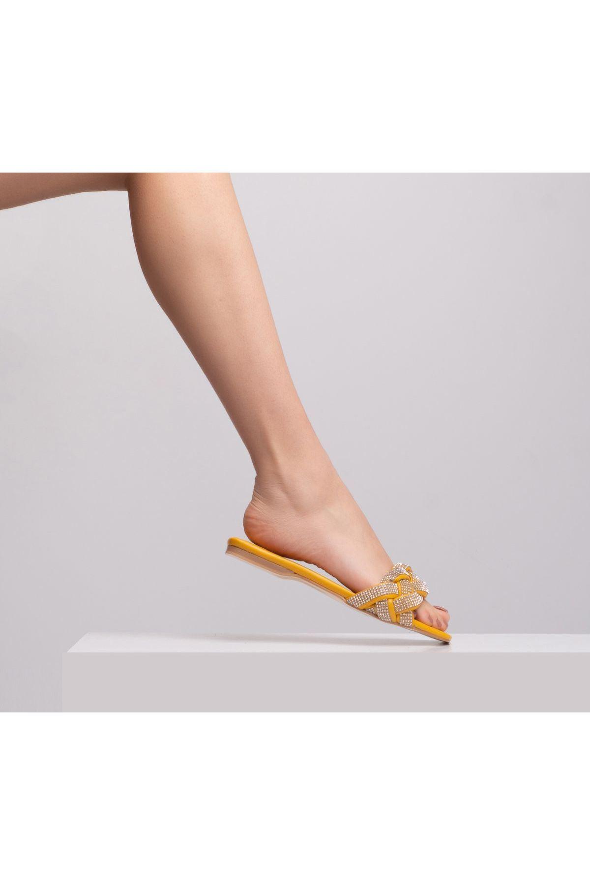 Crace Kadın Deri Terlik Sarı