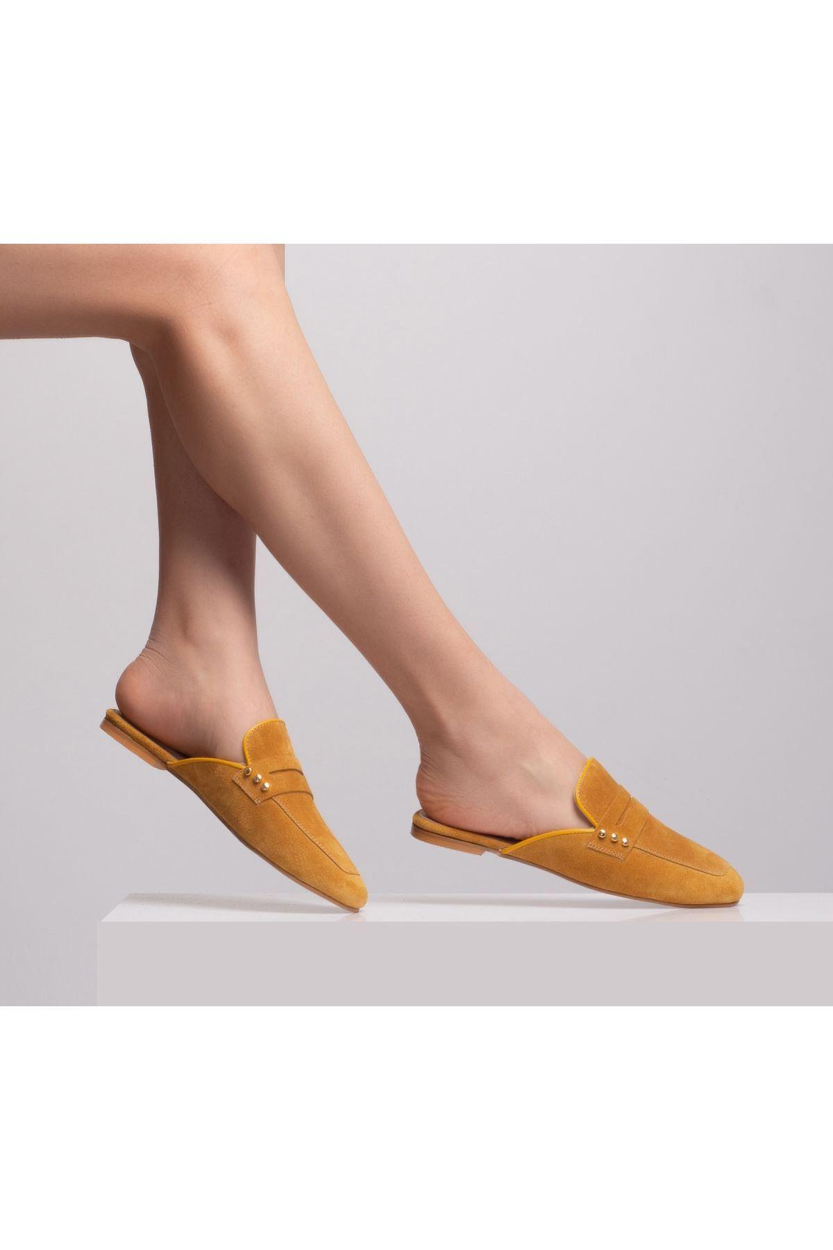 Nonsea Kadın Deri Terlik Sarı-Süet