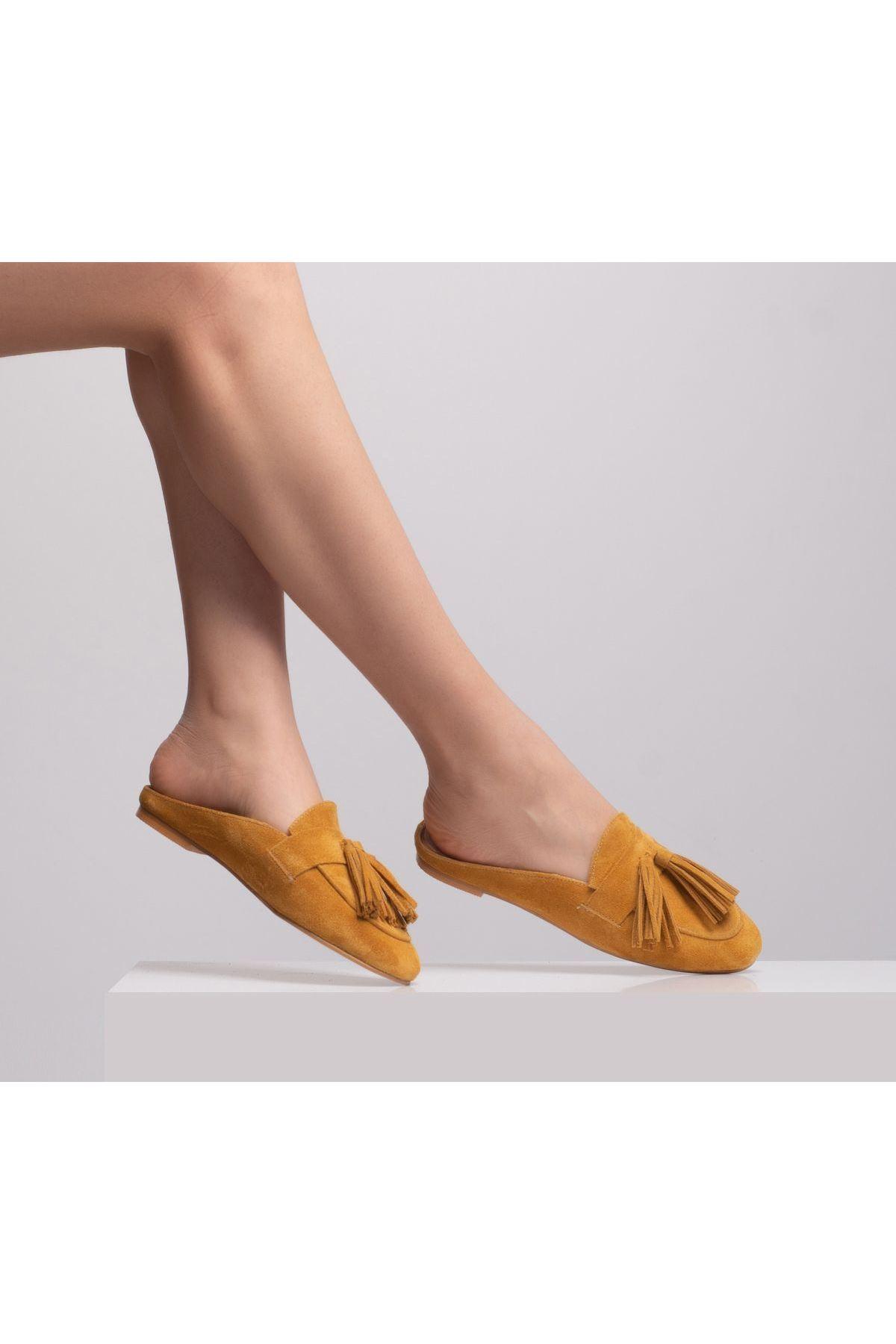 Ninelli Kadın Deri Terlik Sarı-süet
