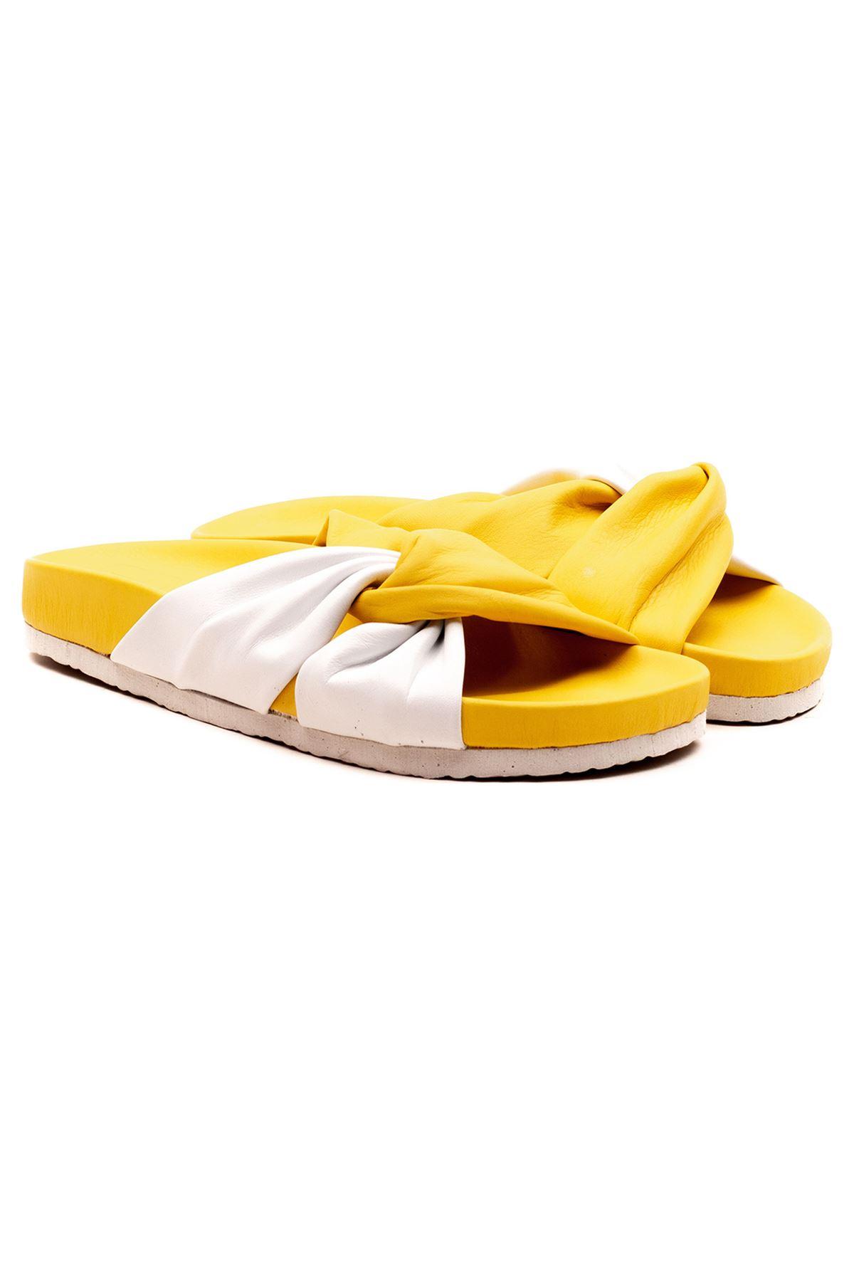 Alesia Kadın Terlik Sarı Beyaz