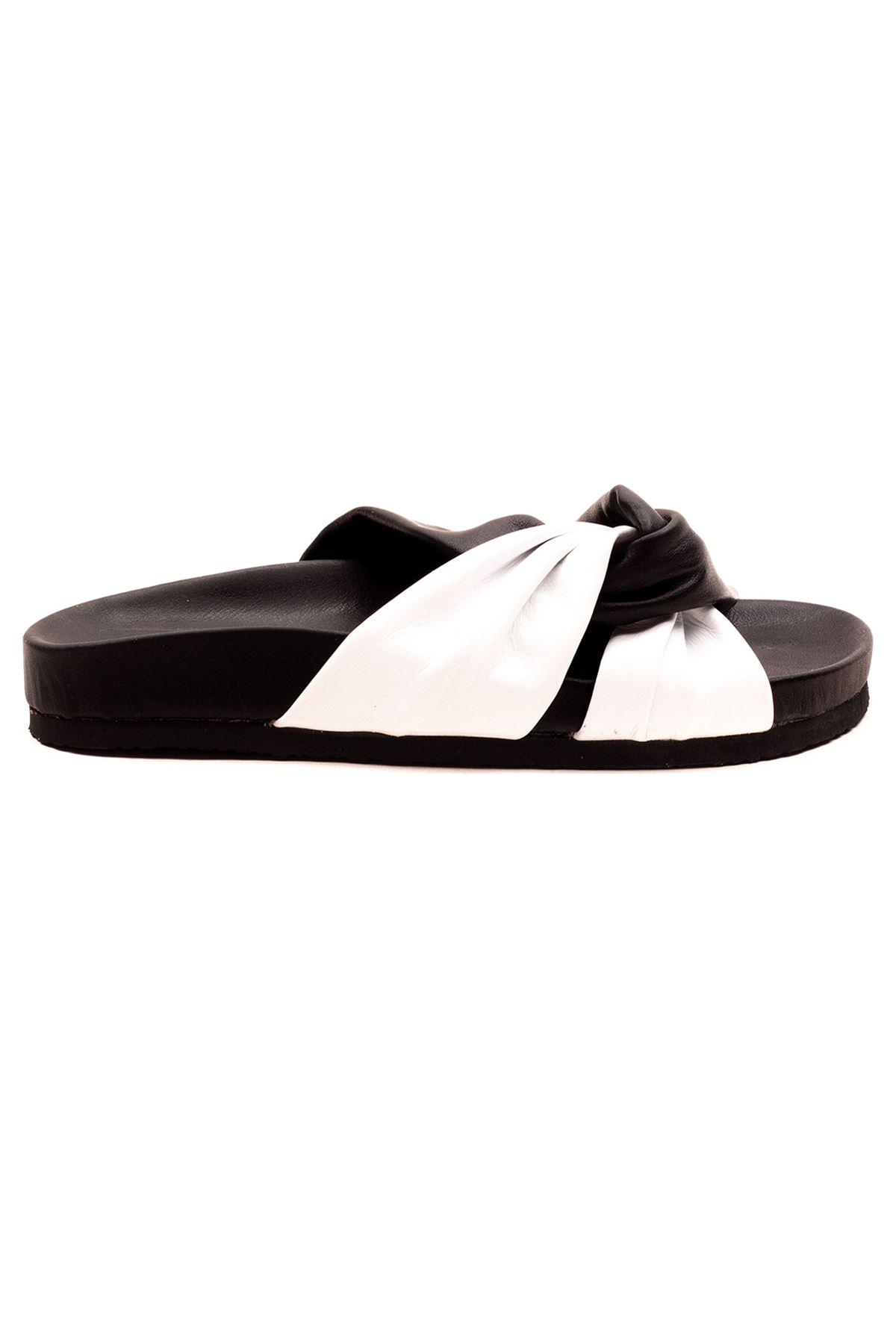 Alesia Kadın Terlik Siyah Beyaz