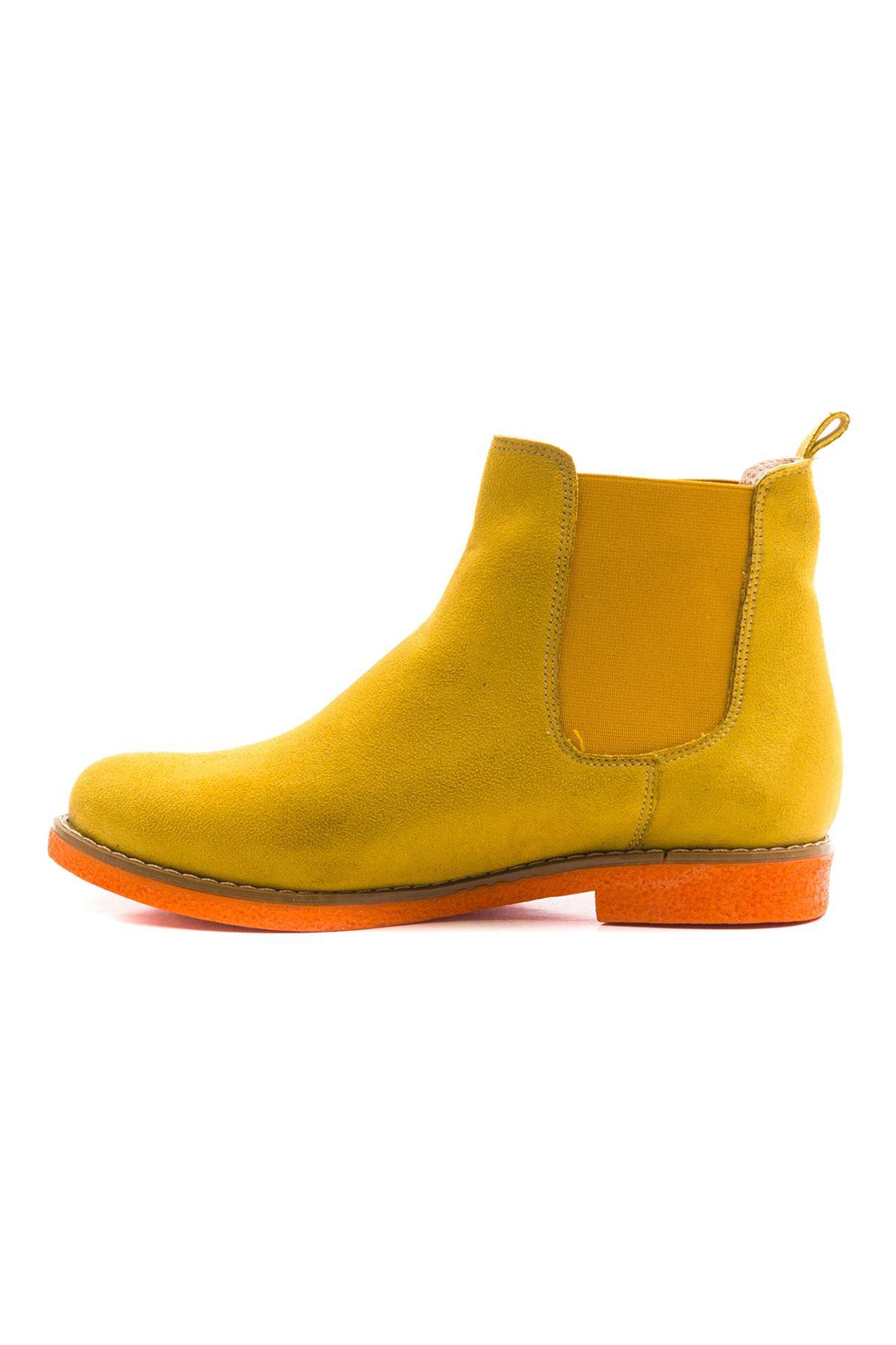 Rafflesio Kadın Bot Sarı Süet Oranj Taban