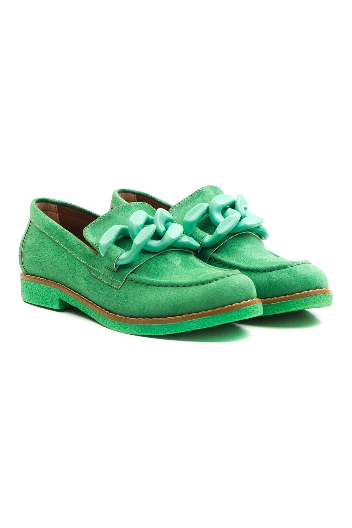 Violaces Kadın Ayakkabı Yeşil Süet Yeşil Taban