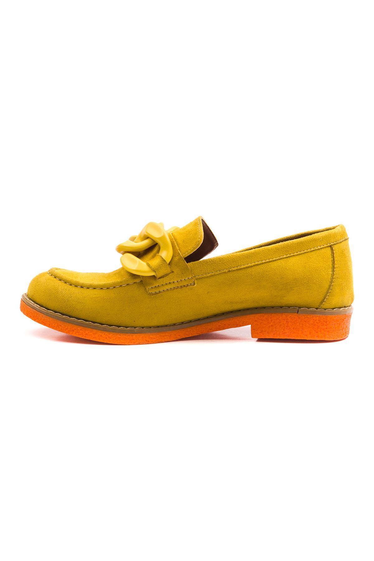 Violaces Kadın Ayakkabı Bot Sarı Süet Oranj Taban
