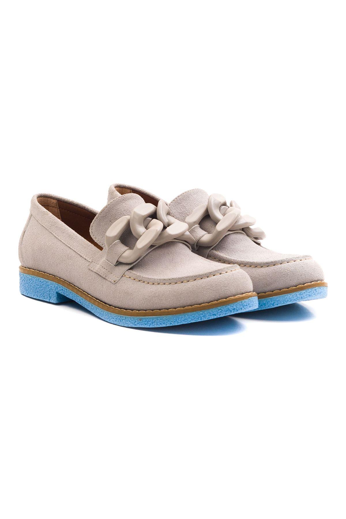 Violaces Kadın Ayakkabı Bot Gri Süet Mavi Taban
