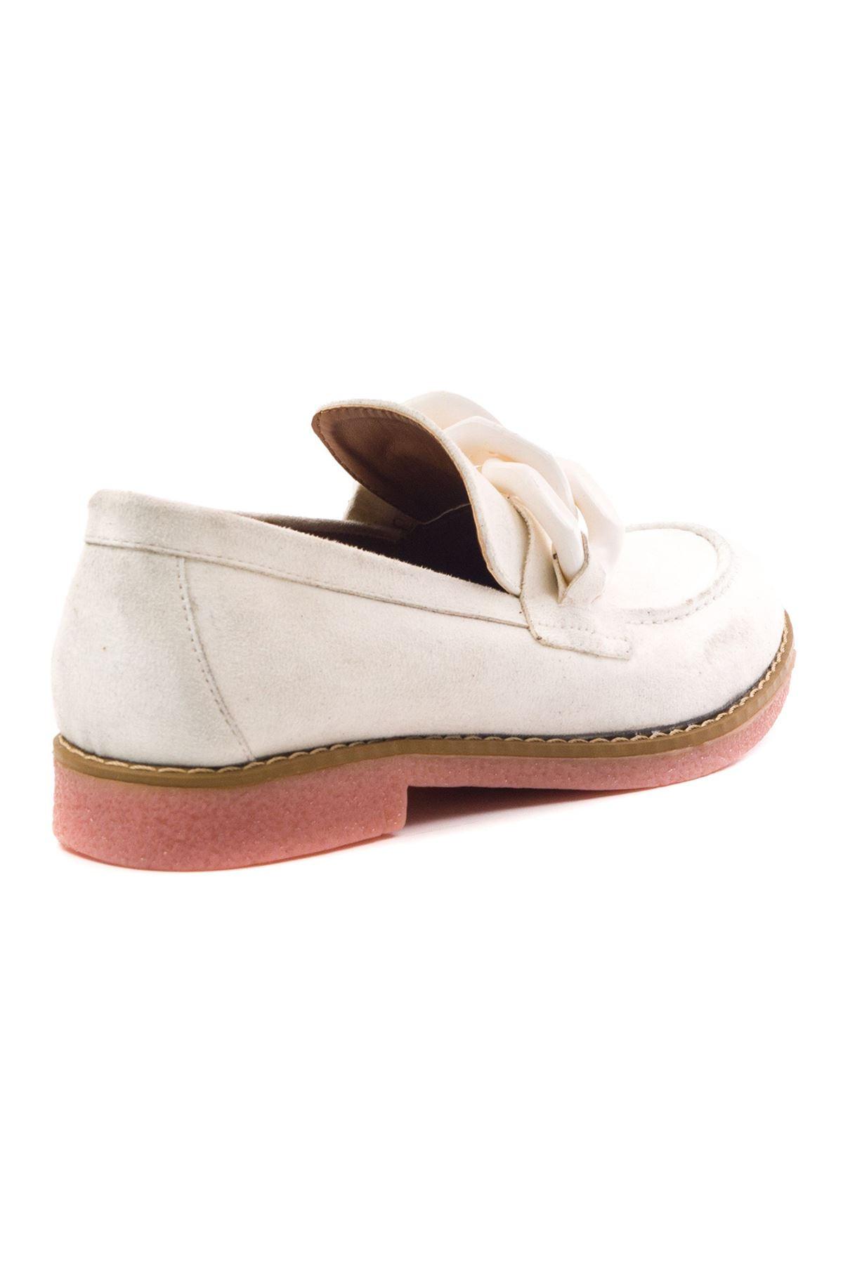 Violaces Kadın Ayakkabı Beyaz Süet Pudra Taban