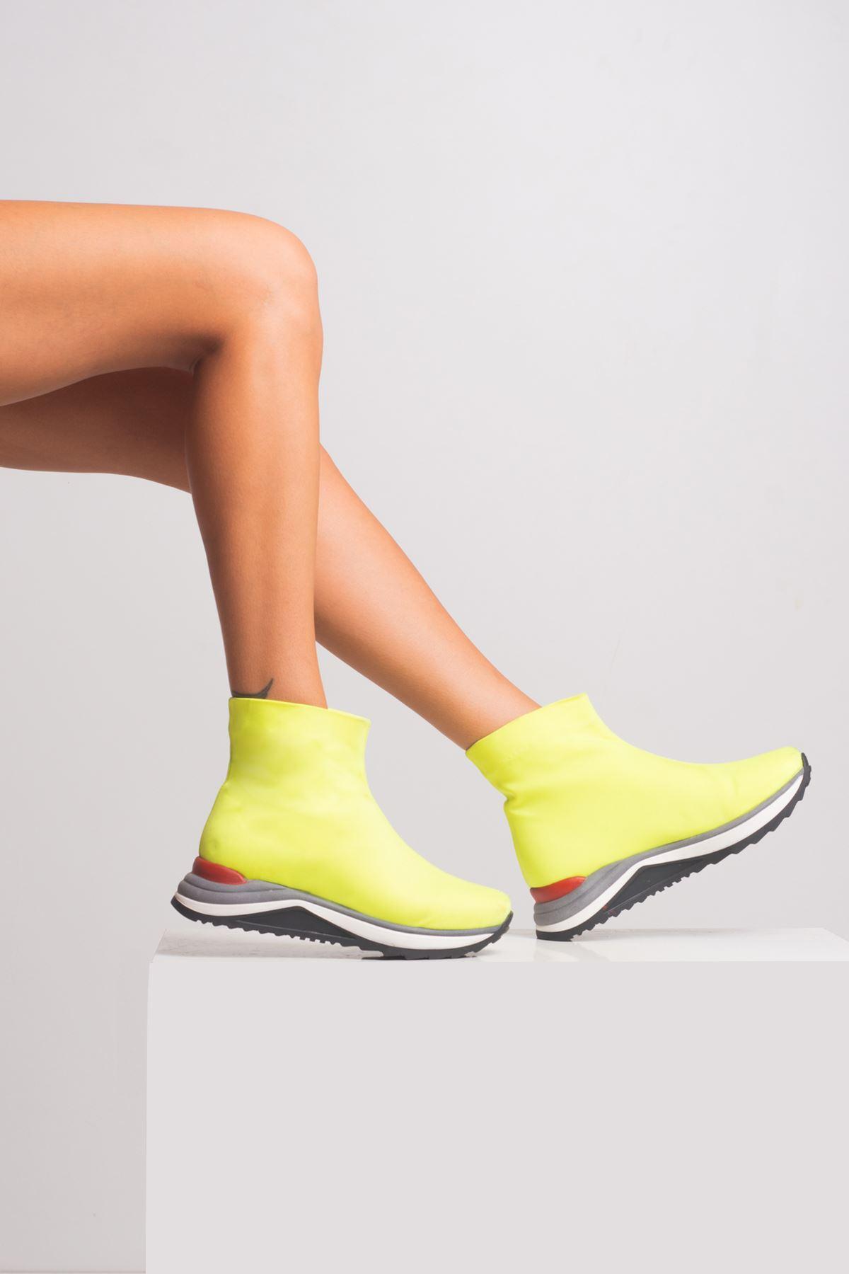 Alicia Kadın Bot Neon Sarı Dalgıç
