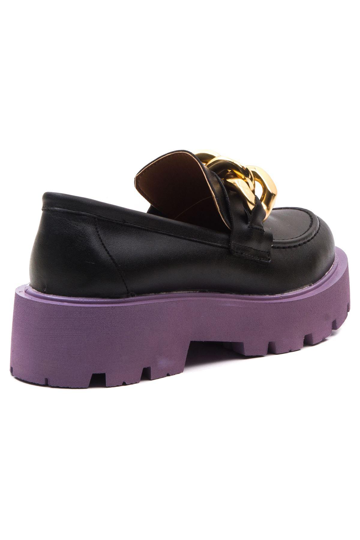 Ezra Kadın Ayakkabı Siyah Lila Taban